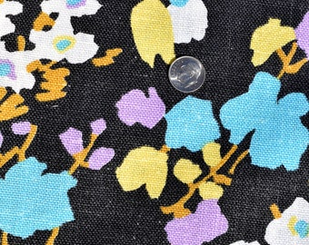 Vintage LINEN BARKCLOTH Fabric Floral Bright Black Ground 60s Psychedelic 42 x 36
