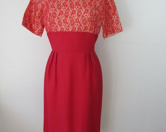 1950s - Early 1960s Red Wiggle Dress with Lace Bodice