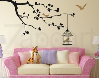 Cherry Blossom Branch with Birds - Wall Vinyl Decal