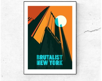 Brutalist New York Poster - Long Lines Building Illustrated Architecture Matte & Giclee Art Prints.  Home Decor, Art Prints of New York