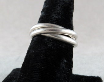 Vintage Sterling Silver 3 Band Ring Size 9
