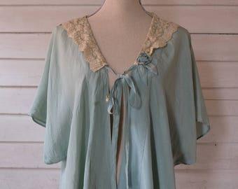 1930s Silk Bed Jacket / Floral Lace / Antique Lingerie / 1930s Lingerie / 1930s Loungewear / Vintage Boudoir / Vintage 40s Bed Jacket / M