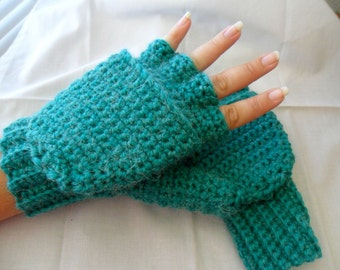 Super Thick and Warm Peacock Blue Alpaca Wool Crocheted Convertible Fingerless Mittens/Gloves - Turquoise Teal Aqua