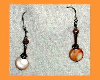 Mother of Pearl Drop Dangle Earrings on Sterling Silver Wires