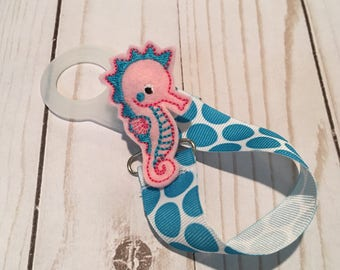 Pacifier Keeper -Paci Clip - Seahorse- Shower Gift - Baby Accessory