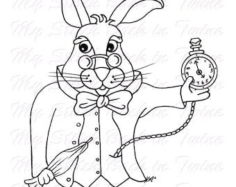 Digital stamp colouring image - Underland Rabbit. jpeg / png