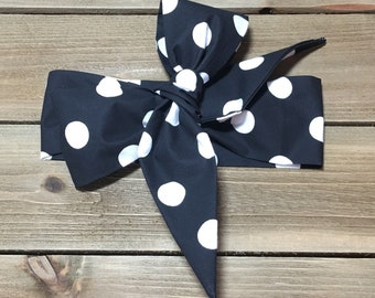 Polka Dot Headwrap- Polka Dot Headband; Black Headband; Polka Dot Head Wrap; Polka Dot Bow; Mommy and Me; Baby Headband; Baby Headwrap