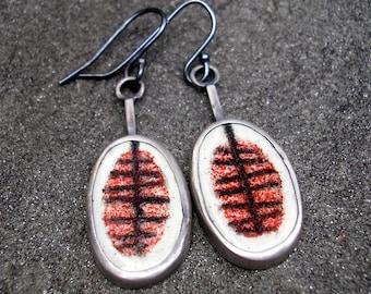 Enamel Earrings - Red Enamel Sterling Silver Dangle Earrings - Mid Century Modern Design Earrings - Red Enamel Dangles - Enamel Dangles