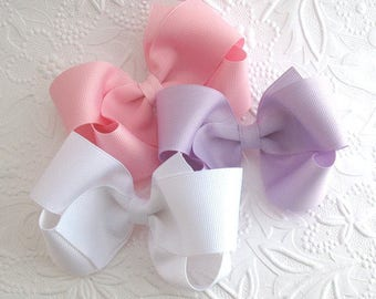 """Set of 10 ~ 4"""" Girls Large Boutique Hair Bows Choose Your Colors"""
