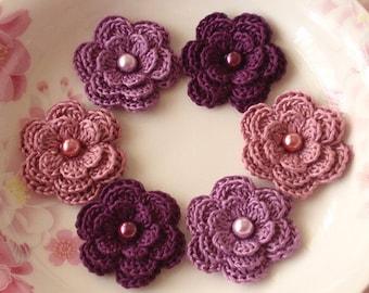 6 Crochet Flowers With Pearls In Purple, Plum, Rose Manve  YH-013-27