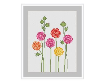 Ranunculus cross stitch pattern, cross stitch pattern flower, cross stitch pattern modern, cross stitch pattern PDF, instant download
