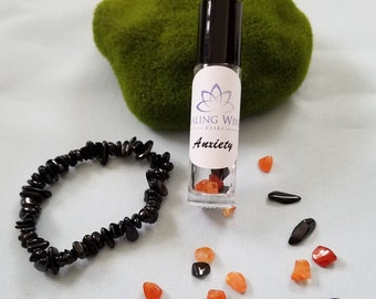 Anxiety Essential Oil & Gemstone Bottle with Choice of Black Tourmaline OR Carnelian Bracelet AND Oil Recipe Card Reiki Charged