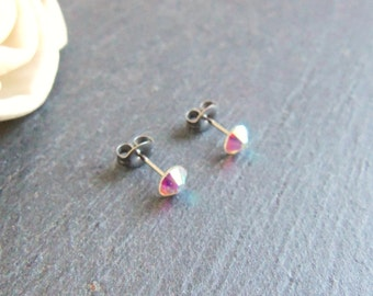 Crystal stud earrings, Swarovski crystal post earrings, Swarovski Elements, surgical steel earrings, 4mm AB crystal earrings, girls studs