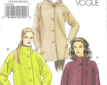 Vogue 8539 - HOODED or FUNNEL Neck Jackets / COATS - Sewing Pattern - Sizes 18=20-22-24 - Uncut