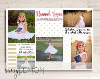2018 Graduation - Hannah Gold Glitter Baptism Invitation, LDS Baptism Announcement, Digital, Printable, Trendy
