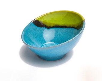 Handmade Ceramic Angled Bowl, Salad Bowl, Fruit Bowl, Handmade bowl, Serving Bowl, Table ceramic bowl, Stoneware bowl, Pottery bowl