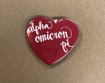 Alpha Omicron Pi Color Heart-Shaped Button