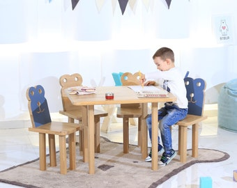 Set of Two Chairs and Table / Kids Chairs and Table Set / Childrens Chairs and & MULTIPLE ITEMS: Toddler elephant chair Giraffe/ Whale/ Stag/