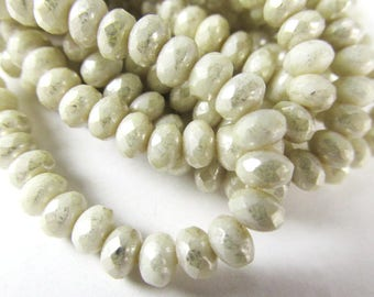 Ivory Mercury Czech Glass 5mm x 3mm Faceted Rondelle Jewelry Beads - strand of 30 beads, does not contain actual mercury