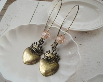 Queen Of Hearts Earrings Crowned Heart Brass Charm Earrings
