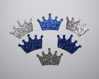 25 Silver and Royal Blue Glitter Crowns,Baby Shower,Confetti,Birthday,Princess,Prince,King