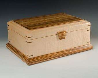 Handcrafted Jewelry Box of Tiger Maple and Zebrawood