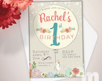 Bunny Kids Birthday Invitation, Kids Birthday Card, Digital Birthday Invitations, Digital Birthday Card, Printable Birthday Invite
