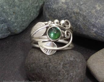 Green tourmaline leaf ring with leaves and sterling silver vines branches tendrils, individually handcrafted size 8 & 3/4 Elfin Works design