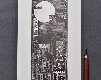 Look Up | Original handmade linocut print | Black and white | Futuristic geometric landscape | Limited edition art