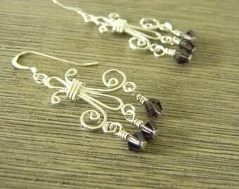 Sterling Silver Fleur de Lis Earrings Chandelier Earrings with Purple Beads