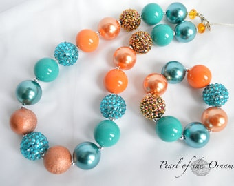 Teal and Orange chunky necklace, bracelet set, statement, girls, women, flower girl, bridesmaid, wedding, party, birthday, gift, photo propp