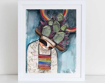 Rainbow Warrior-american Indian kachina art print Watercolor & Archival Print from my original illustration home decor - 8x10-11x14