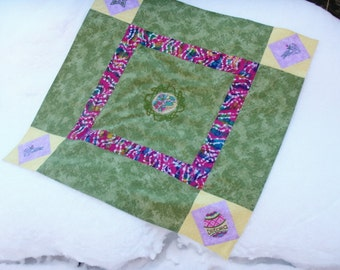 Earth Awakening - Ostara Altar Cloth - Machine Embroidered and Hand Pieced Table Cover for Easter