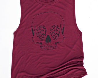Skull with Hops for eyes -  vintage soft flowy triblend Muscle Tank Top - Maroon - women's small