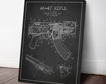 2007 AK47 Machine Gun Patent Canvas Print, Machine Gun Print, Machine Gun Decor, Patent Art, Wall Art, Home Decor, Gift Idea, WE08C