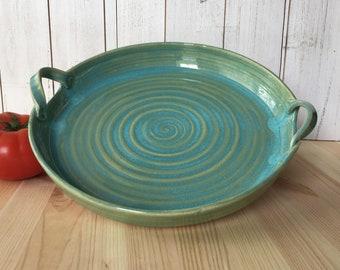 Ceramic Platter, Handmade Pottery Serving Dish, 11 Inch Stoneware Tray, Handmade Ceramic Turquoise Platter, Handled Serving Tray