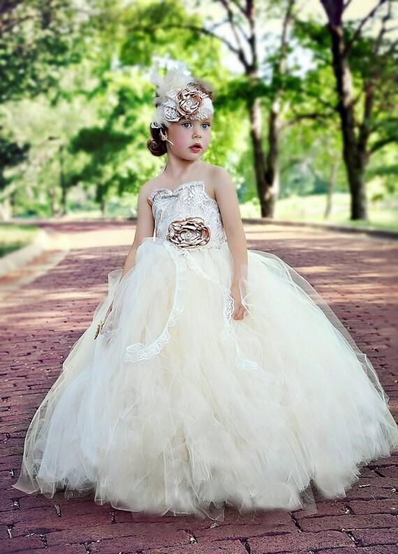 flower girl dress vintage flower girl tutu dress Ivory and