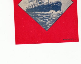 """Authentic Old Broom Label Atlanic With Old Ocean Liner 3.5"""" X 5"""" Circa 1930"""