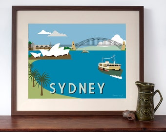 Sydney Harbour Retro Travel Poster Style Art Print