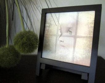 Digital illustration | woman art print | portrait art | giclée canvas print | desk art | small framed art | woman portrait | shelf decor