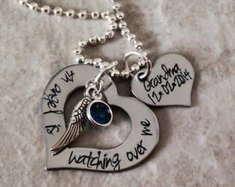 An angel is watching over me guardian angel personalized necklace with birthstone grandma grandpa mom dad remembrance forever in our heart