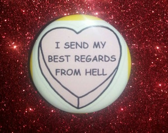Candy hearts Best Regards button 1.25in buttons