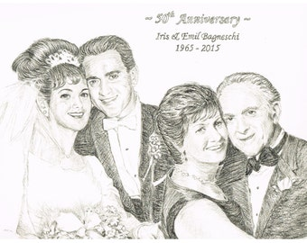 Anniversaries, Weddings, Engagements - Custom Hand-Drawn Portraits