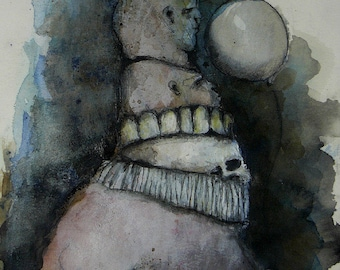 """Original contemporary Mixed Media Painting on paper-""""Walk With Me"""""""