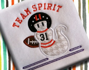 Athletic Ghost Team Spirit Funny Boy Halloween Applique Pattern Machine Embroidery Design INSTANT DOWNLOAD DIgital File Football Autumn