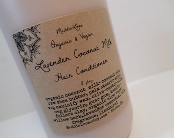 FREE SHIPPING/ORGANIC/Lavender Coconut Milk Hair Conditioner-made with organic ingredients-8oz.