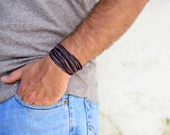 Purple Bracelet, Bohemian Jewelry, Hippie Bracelet For Men, Gift For Boyfriend Adjustable Bracelet, Everyday Jewelry, Gypsy Bracelet For Him