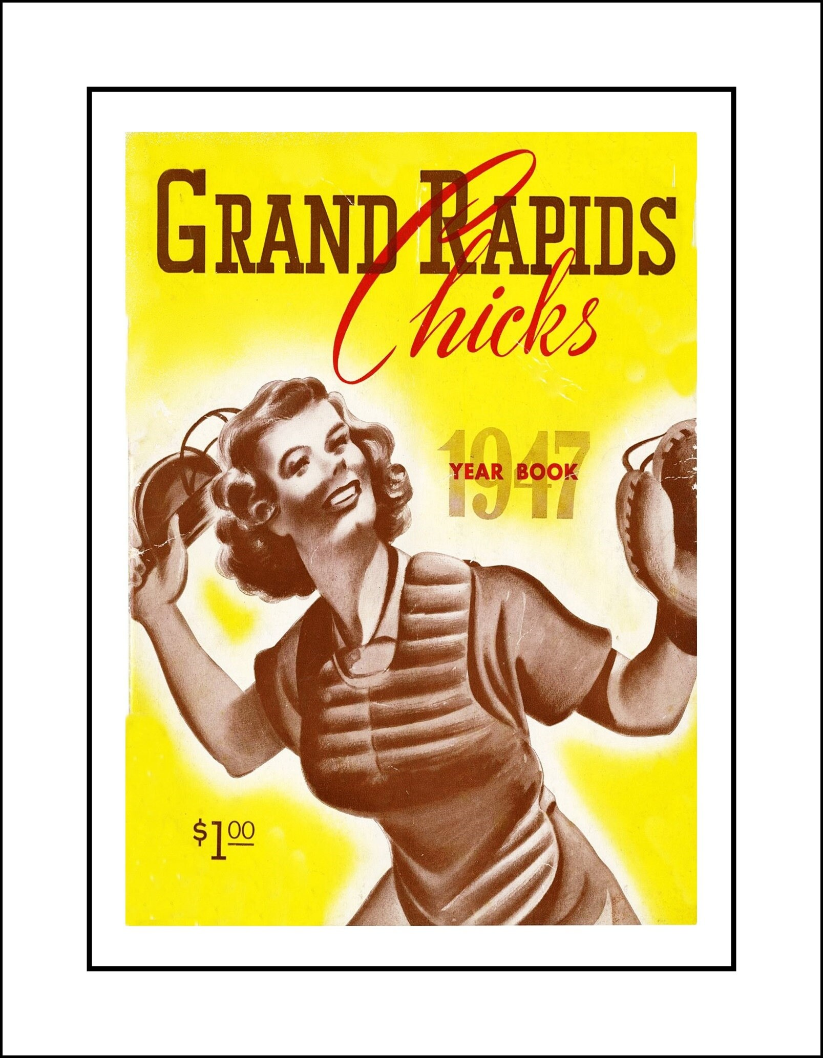 Vintage 1947 Baseball Women Poster Grand Rapids Michigan Wall