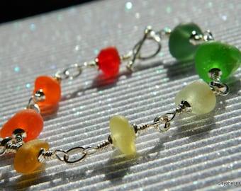 Seyshelles Meer Glas Regenbogen Farbe Meer Glas Armband Sterling Silber Meer Glasarmband