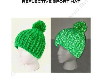Ribbed pompom hat - reflective sport hat